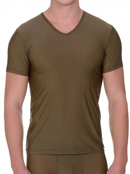 Bruno Banani Rays: V-Neck-Shirt, gold/schwarz
