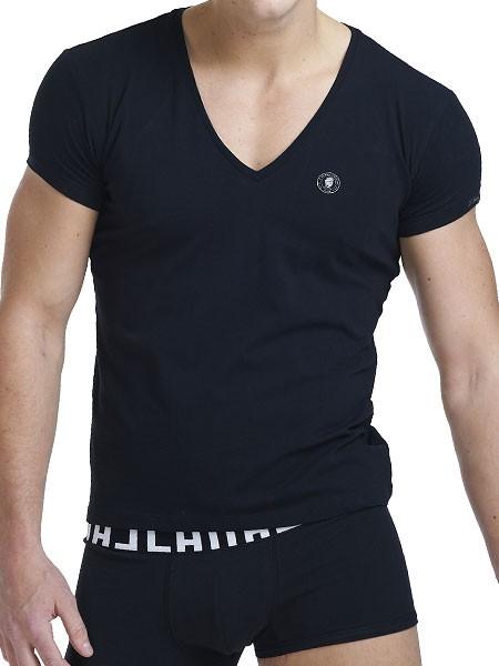 L'Homme Organic: V-Shirt, schwarz
