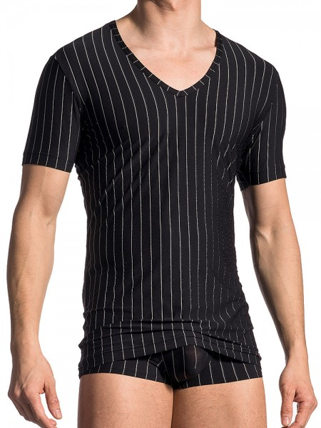 Olaf Benz PEARL1700: V-Neck-Shirt, schwarz