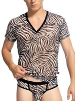 L'Homme Cory: V-Neck-Shirt, schwarz/weiß