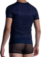 MANSTORE M2053: V-Neck-Shirt, schwarz/blau