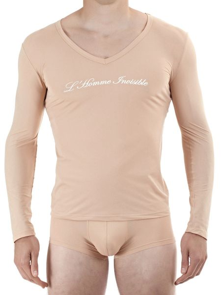 L'Homme Sensitive: Longshirt V-Neck, nude