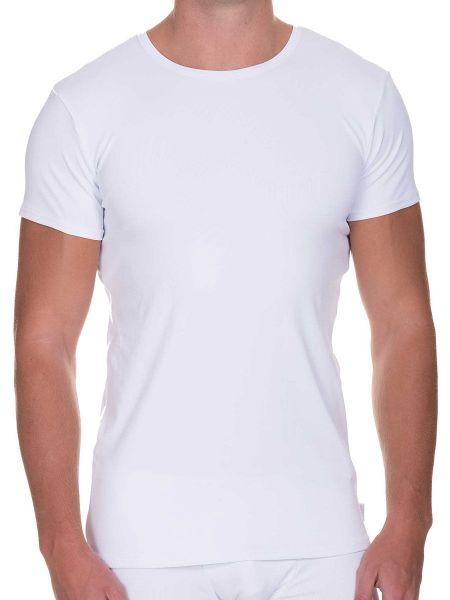 Bruno Banani Rib Made: T-Shirt, weiß