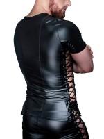 Noir Handmade: Wetlook-Shirt mit Schnürung, schwarz