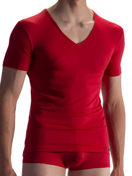 Olaf Benz RED1864: V-Neck-Shirt, rot