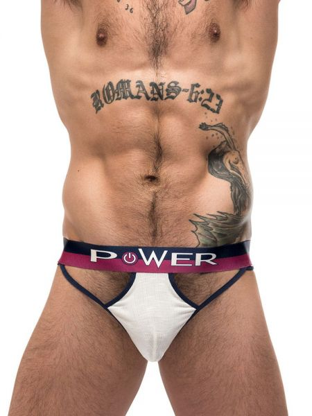 Male Power French Terry: Cutout Moonshine Jockbrief, ivory
