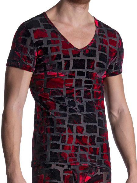 MANSTORE M2102: V-Neck-Shirt, schwarz/rot