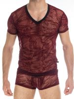 L'Homme Agosto: V-Neck-Shirt, bordeaux