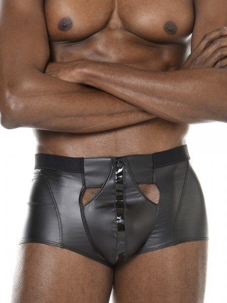 Patrice Catanzaro Konan: Wetlook-Lack-Pant, schwarz