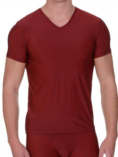 Bruno Banani Rays: V-Neck-Shirt, rot/schwarz