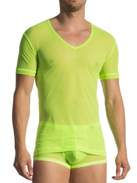 Olaf Benz RED1762: V-Neck-Shirt, neongrün