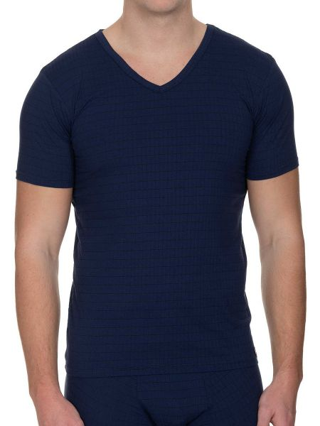 Bruno Banani Check Line 2.0: V-Neck-Shirt, marine
