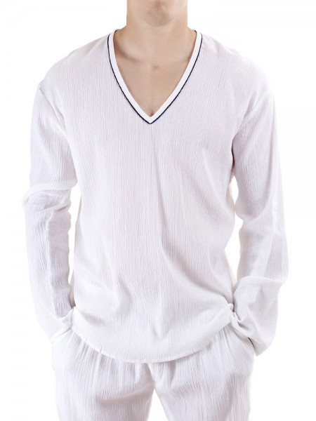 L'Homme Crinkle Lounge: Lounge Shirt, weiß