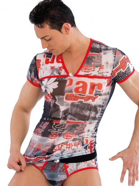 Eros Veneziani Levante: V-Neck-Shirt, bunt