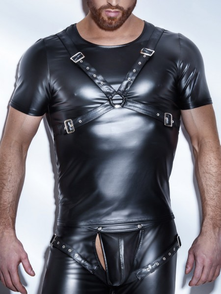 Noir Handmade: Wetlook-Shirt, schwarz