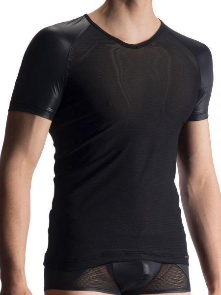 Olaf Benz RED1914: V-Neck-Shirt, schwarz