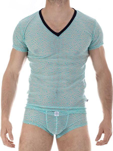 L'Homme Copacabana: T-Shirt V-Neck, deep ocean/schwarz