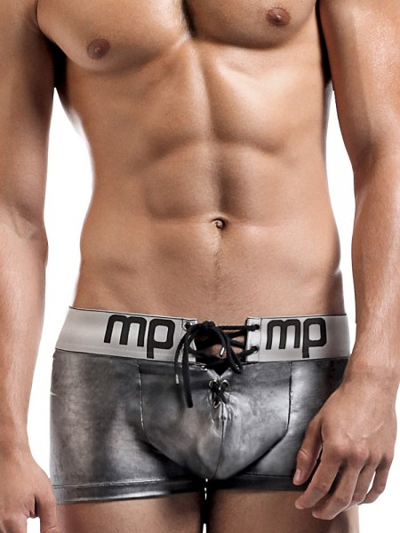 Male Power Molten Steel: Lace Up Short, grau