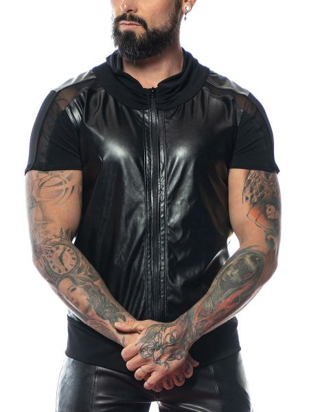 Patrice Catanzaro Mae: Wetlook-Zip-Shirt, schwarz