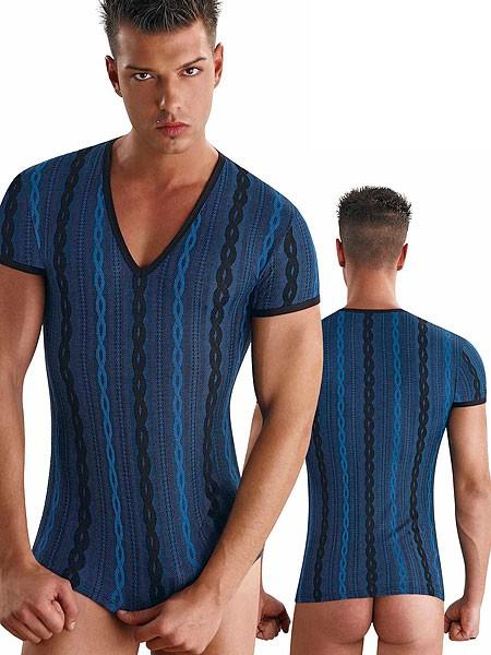 Eros Veneziani Francesco: T-Shirt, blau/schwarz