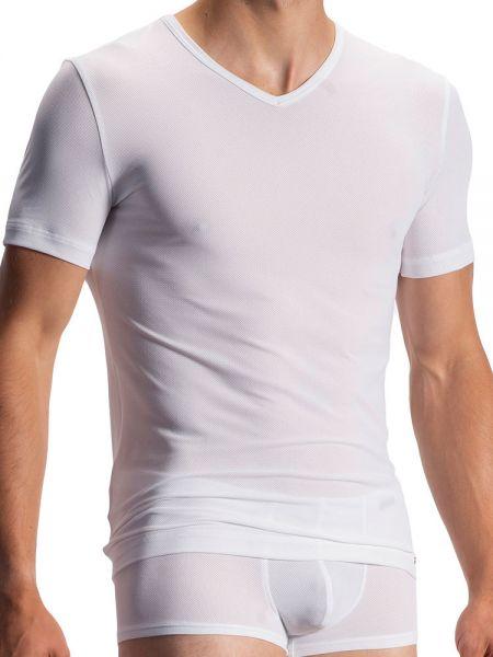 Olaf Benz RED1950: V-Neck-Shirt, weiß
