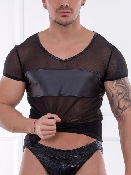 Patrice Catanzaro Fabien: Netz-Wetlook-Shirt, schwarz