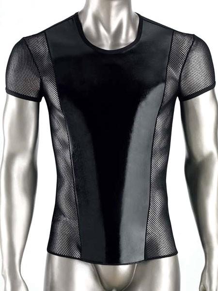 Eros Veneziani Carlos: Wetlook-Netz-Shirt, schwarz