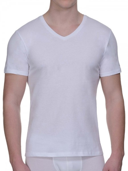 Bruno Banani Pure Cotton: V-Neck-Shirt 2er Pack, weiß