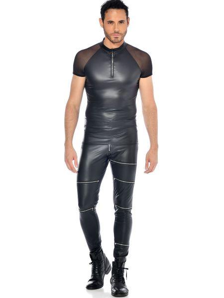 Patrice Catanzaro Khal: Wetlook-Netz-Shirt, schwarz
