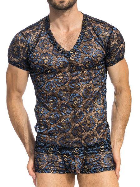 L'Homme Elysée: T-Shirt V-Neck, blau/schwarz