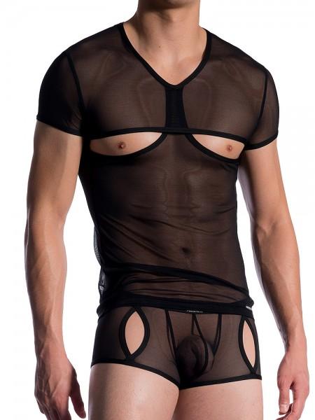 MANSTORE M765: V-Neck-Shirt, schwarz