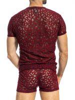 L'Homme Elio: T-Shirt V-Neck, marine/rot