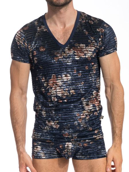 L'Homme Ewan: T-Shirt V-Neck, marine
