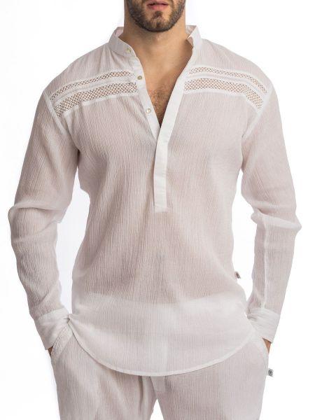 L'Homme Byaar: Loungeshirt, weiß