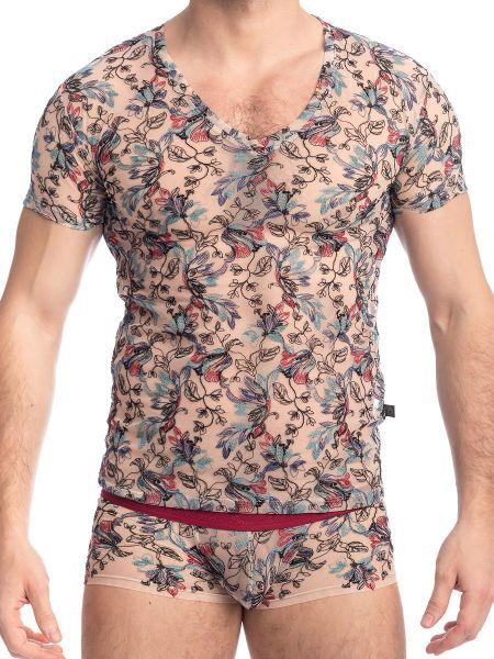 L'Homme Fleurs de Peau: V-Neck-Shirt, multico