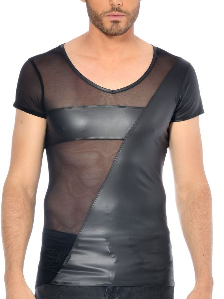 Patrice Catanzaro Santor: Wetlook-Netz-Shirt, schwarz