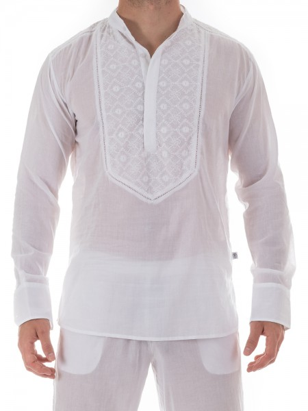 L'Homme Udaipur: Loungeshirt, weiß