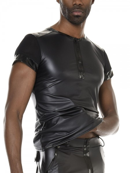 Patrice Catanzaro Tom: Wetlook-Shirt, schwarz