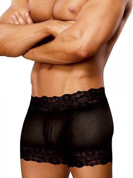 Male Power Scandal Lace: Split Back Short, schwarz