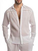 L'Homme Byaar: Loungehemd, weiß