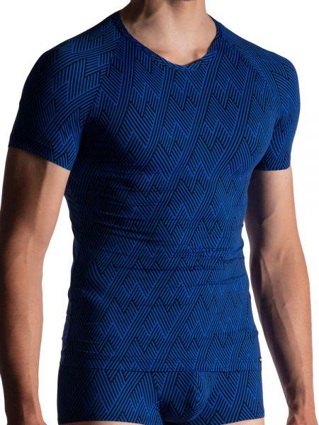 MANSTORE M800: V-Neck-Shirt, blau/schwarz