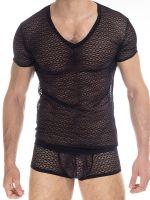 L'Homme Adriel: V-Neck-Shirt, schwarz