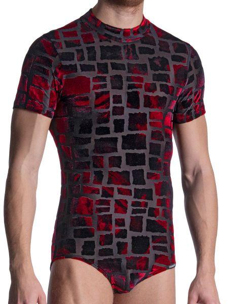MANSTORE M2102: Pullover Body, schwarz/rot