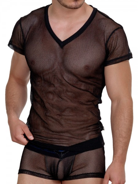 L'Homme Fishnet: V-Neck-Shirt, schwarz