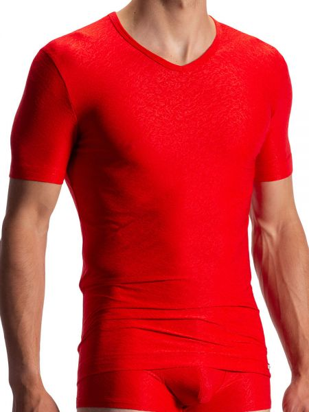 Olaf Benz RED1970: V-Neck-Shirt, rot